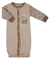 Kushies Baby Brown Graffiti Print Full Sleeves Convertible Gown