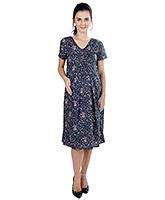 Buy Nine Short Sleeves Knee Length Cotton Maternity Tunic - Blue