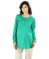 Buy Nine Full Sleeves Cotton Maternity Top - Green