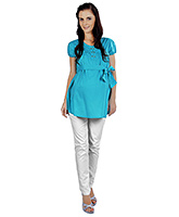 Buy Nine Puff Sleeves Cotton Maternity Top - Turquoise