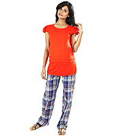 Buy Nine Blue Maternity Comfy Pajama In Checks