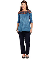 Buy Nine Blue Maternity Printed Top With Embroidery Details