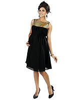 Buy Nine Black Maternity Party Frock With Golden Sequins