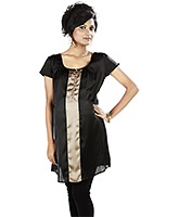 Nine Black Maternity Satin Tunic With Gold Buttons