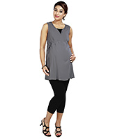 Buy Nine Grey Maternity Sleeveless Tunic With Studs
