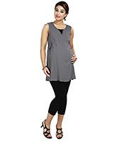 Nine Grey Maternity Sleeveless Tunic With Studs