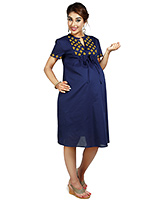 Buy Nine Blue Maternity Split Collar Short Sleeves Dress With Embroidery Details