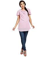 Nine Pink Maternity Cowl Neck Chiffon Short Petal Sleeves Tunic