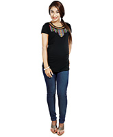 Nine Maternity T Shirt With Embroidery Details