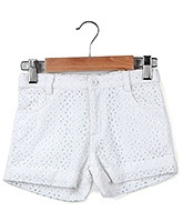 Beebay Schiffle Embroidered Shorts White