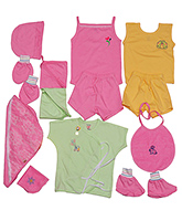 Jo Kidswear Clothing Gift Set With Feeding Bottle - Pink And Green