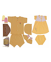 JO Kidswear Yellow Clothing Gift Set With Feeding Bottle