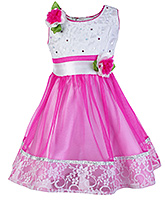 Buy Babyhug Sleeveless Pink Frock With Flower Applique