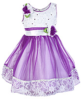 Buy Babyhug Sleeveless Purple Frock With Flower Applique