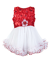 SAPS Sleeveless Red Frock With Flower Applique Bodice And Satin Belt