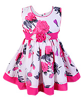 SAPS Sleeveless Pink Floral Print Frock - Flower Applique