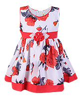 SAPS Sleeveless Peach Floral Print Frock - Flower Applique
