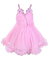 Babyhug Pink Singlet Frock With Flowers And Sequins