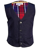 Buy ShopperTree Navy Blue Sleeveless Waistcoat