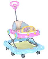 Fab N Funky Musical Baby Walker With Parents Handle And Playtray - Pink And Blue