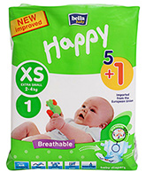 Bella Baby  Happy Diapers Extra Small (2 - 4 Kg), 5 + 1 Pieces, Imported from ...