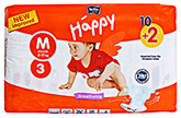 Bella Baby  Happy Diapers Medium (6 -11 Kg), 10 + 2 Pieces, Imported from Euro...