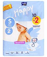 Bella Baby  Happy Diapers Small (3 - 8 Kg), 10 + 2 Pieces, Imported from Europ...