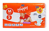 Bella Baby  Happy Diapers Medium (6 - 11 Kg), 30 + 6 Pieces, Imported from Eur...