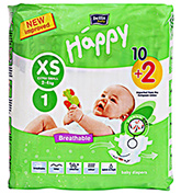 Bella Baby  Happy Diapers Extra Small (2 - 4 Kg), 10 + 2 Pieces, Imported from...