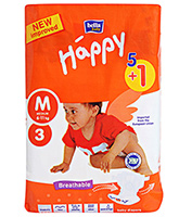 Bella Baby  Happy Diapers Medium (6 - 11 Kg), 5 + 1 Pieces, Imported from Euro...