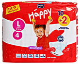 Bella Baby  Happy Diapers Large (9 -14 Kg), 10 + 2 Pieces, Imported from Europ...