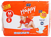 Bella Baby  Happy Diapers Medium (6 - 11 Kg), 50 + 10 Pieces, Imported from Eu...