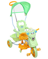 Tricycle With Canopy N Push Handle - Green and Orange