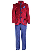 SAPS Red Full Sleeves Party Suit With Contrast Buttons