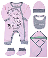 Papple Pastel Pink Infant Romper Combo Multi Set - Pack Of Five