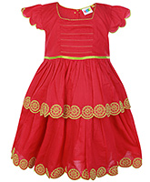 SAPS Red Cap Sleeves Layered Frock - Flower Embroidery