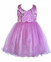 SAPS Pink Sleeveless Party Frock - Rosette N Sequins Bodice