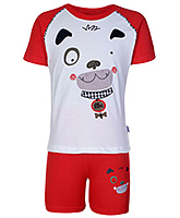 Teddy Red Dog Print Half Sleeves T Shirt And Shorts
