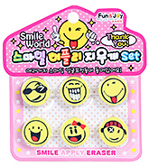 Emoticon Theme Erasers - Set of 6