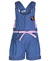 SAPS Blue Denim Dungaree - Pink Check Print Belt