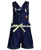 SAPS Navy Blue Denim Dungaree - Green Check Print Belt