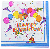 Paper Napkins Happy Birthday and Ballon Print  Blue - 20 Pieces