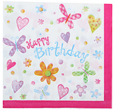Paper Napkins Happy Birthday and Butterfly Print Pink - 20 Pieces