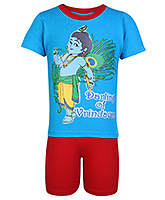 Little Krishna Half Sleeves Printed T Shirt And Short Set - Blue