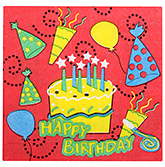 Paper Napkins Happy Birthday and Cake Print Red - 20 Pieces
