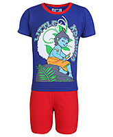 Little Krishna Half Sleeves T Shirts And Plain Shorts - Royal Blue