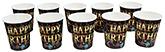 Buy Paper Cups Happy Birthday Printed Black  - Pack of 10