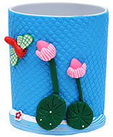 Pencil Holder Flower Figurine - Blue