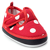 Buy Littles Red Polka Dots Print Baby Booties With Sound