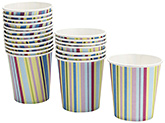 Karmallys Paper Cups with Stripes Print - 210 ml